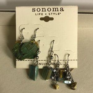 Sonoma Set of Three Genuine Shell Earrings